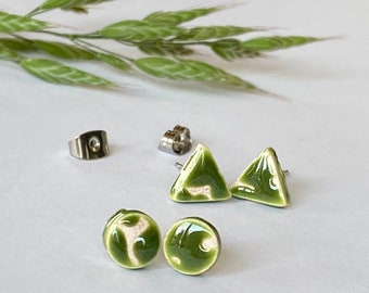 OOAK Forest Green Triangle and Circle Porcelain Stud Earrings, Ceramic Post Earrings Geometric Pottery Stainless Steel Post