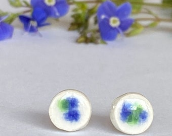 Ceramic Earrings, White Round Studs with Blue and Green Crystal Glaze, Small Porcelain Studs, Light Weight Pottery Posts