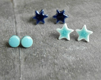 Aqua Blue Lightweight Porcelain Stud Earrings, 3 pairs of Hypoallergenic Ceramic Post, Circle and Stars Modern Geometric Pottery Jewelry