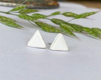 White Porcelain Stud Earrings, Triangle Ceramic Post Earrings, Geometric Pottery Hypoalergenic  Surgical Steel Post