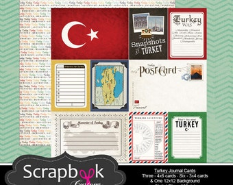 Turkey Journal Cards. Digital Scrapbooking. Project Life. Instant Download.