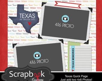 Texas Quickpage. Digital Scrapbooking Paper. Instant Download.