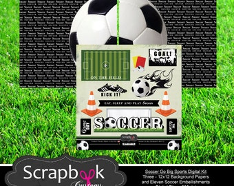 Soccer Digital Scrapbooking. Instant Download.