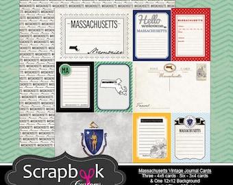Massachusetts Vintage Journal Cards. Digital Scrapbooking. Project Life. Instant Download.