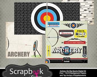 Archery Digital Scrapbooking. Instant Download.
