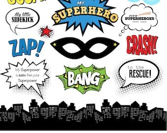 Superhero Elements. Clipart. Digital Download. Super Kid. Embellishments. Scrapbooking.