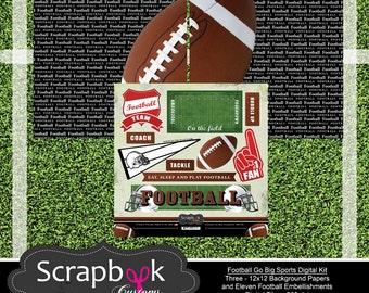 Football Digital Scrapbooking. Instant Download.
