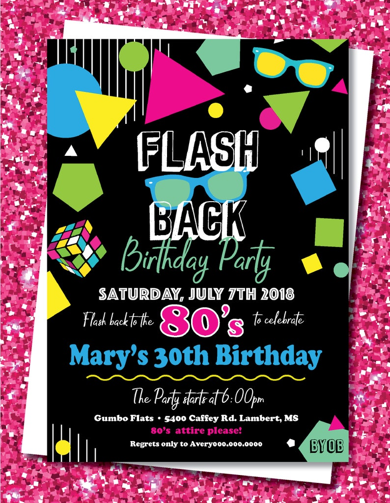 80s Party Invitation Birthday Theme Retro