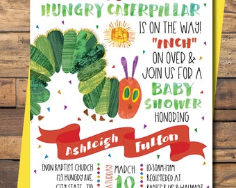 The Very Hungry Caterpillar Invitation/ Babyshower/ Eric Carle's/ Childrens book/ watercolor