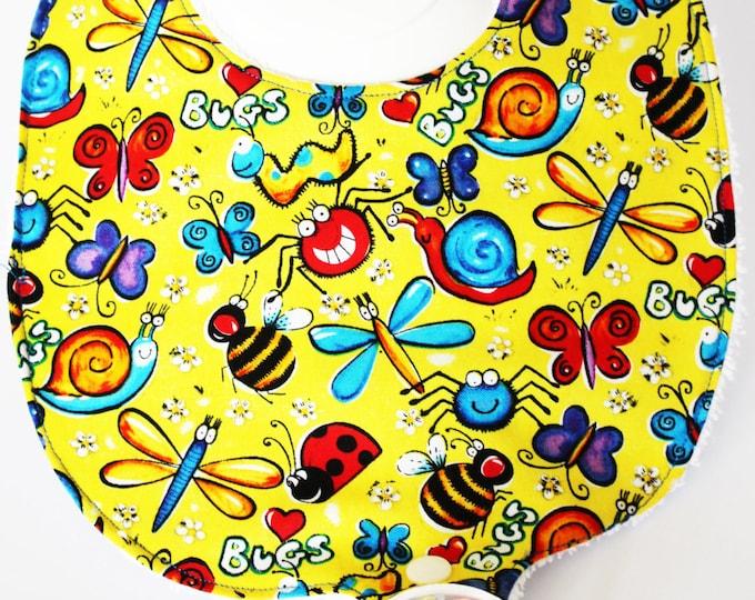 Happy Joyful Bugs Binky Bib ~ Pacifier Bib ~ Baby Bibs ~ Baby Shower Gifts ~ New Baby ~ Baby Girl ~ Baby Boy