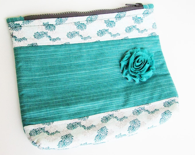Floral Embellished Cosmetic Pouch