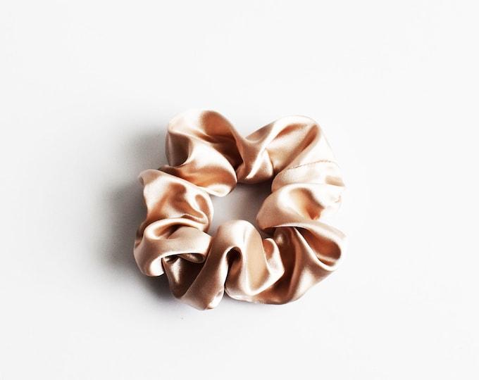 Designer Boutique Scrunchie ~ Silky Satin CHAMPAGNE Scrunchie ~ Healthy Hair ~ Messy Bun ~ Gym Scrunchie