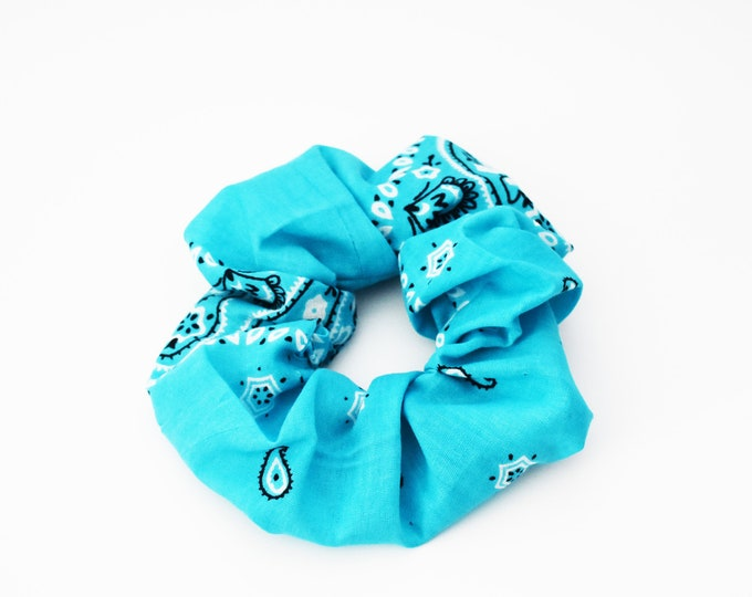 Scrunchie ~ Summer Bandana Teal ~ Messy Bun ~ Top knot ~ Hair Cloud ~ Hair Accessories