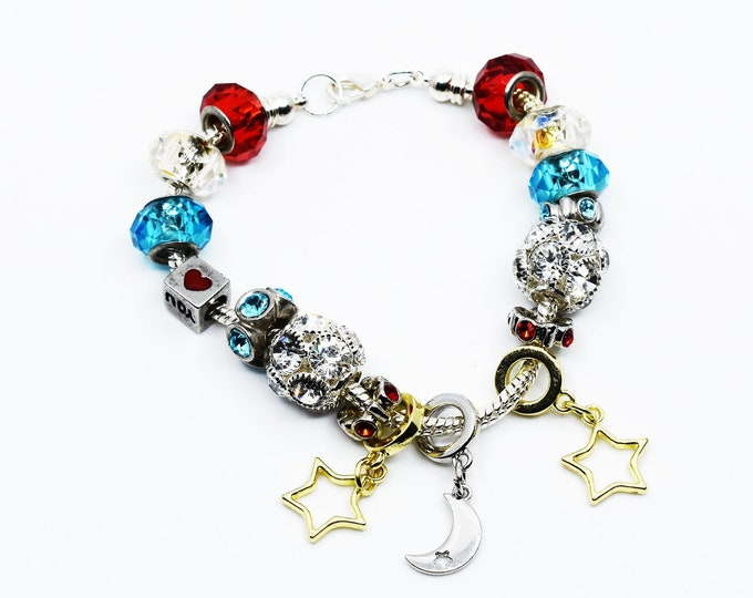 Love you to the Moon and Back Euro Charm Bracelet