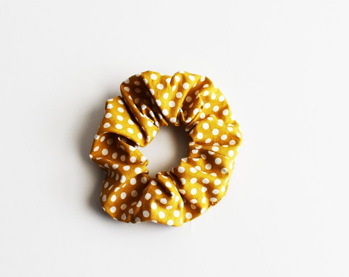 Designer Boutique Scrunchie ~ Mustard Polka Dot Scrunchie ~ Messy Bun ~ Gifts for Her ~ Hair Cloud ~ Top Knot