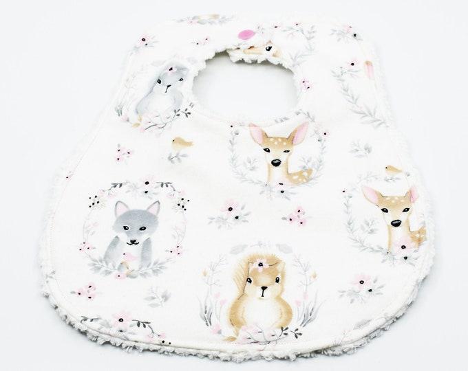 Woodland Animals Designer Boutique Bib ~ Baby Girls Boutique Bib ~ Baby Shower Gift ~ Gifts for Baby ~ Gifts for New Mom
