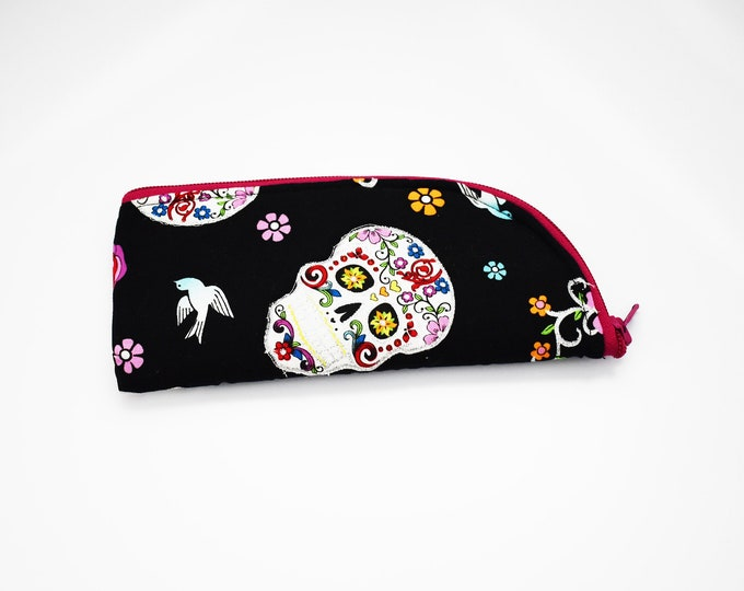 Sunglasses Case ~ Sugar Skulls  Sunglasses Case ~ Summer ~ Back to School ~ Oversized Sunglasses