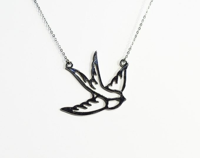 Soaring Sparrow Silver Pendant Necklace