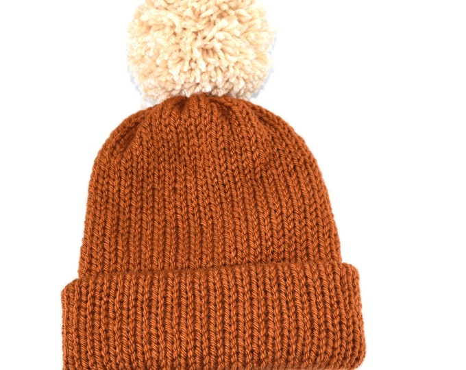 The Classic Beanie  Rust With Pom  Best Seller