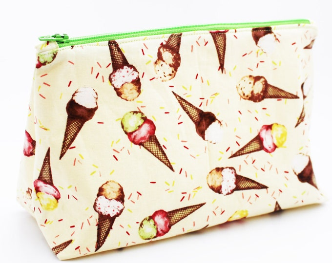 Ice Cream Dreams  COSMETIC BAG ~ Toiletry Bag ~ Makeup Bag ~ For Her~