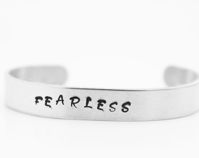 FEARLESS Inspirational Handstamped Cuff ~ Bracelet ~ Jewelry ~ Gift for him ~ Gift for Her ~