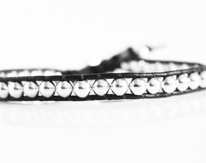 Black Genuine Leather Wrap Bracelet with Large Silver Metal Beads ~ Mens ~ Womens~