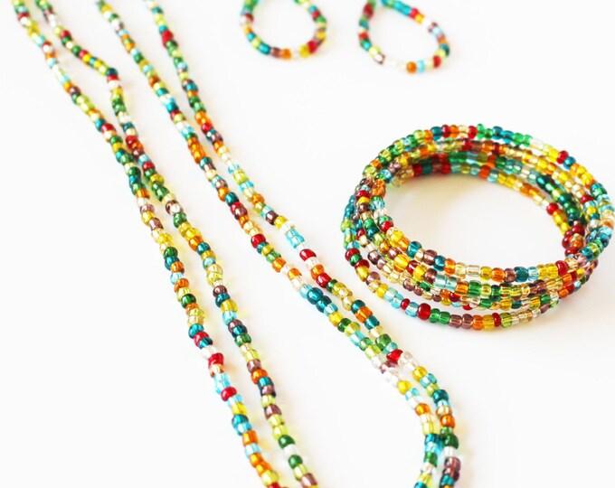 Jewelry Set ~ Festival Fun ~ Beaded Earrings~ Beaded Wrap Memory Bracelet ~ Beaded Necklace~ Jewelry Set