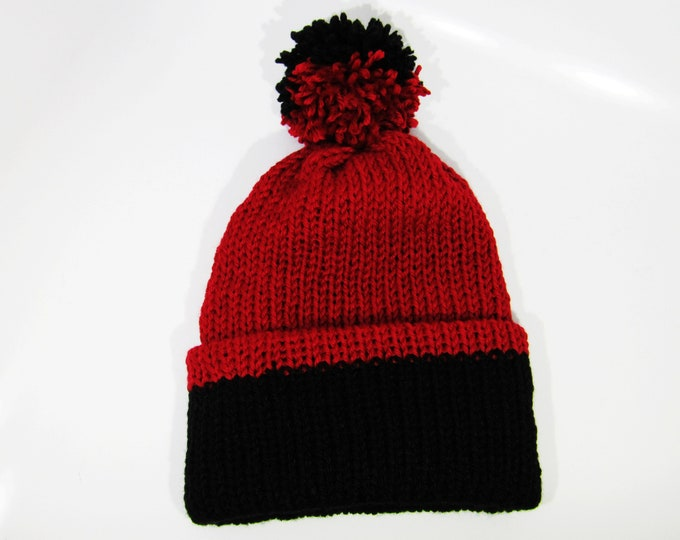 Two-Toned Beanie Red and Black