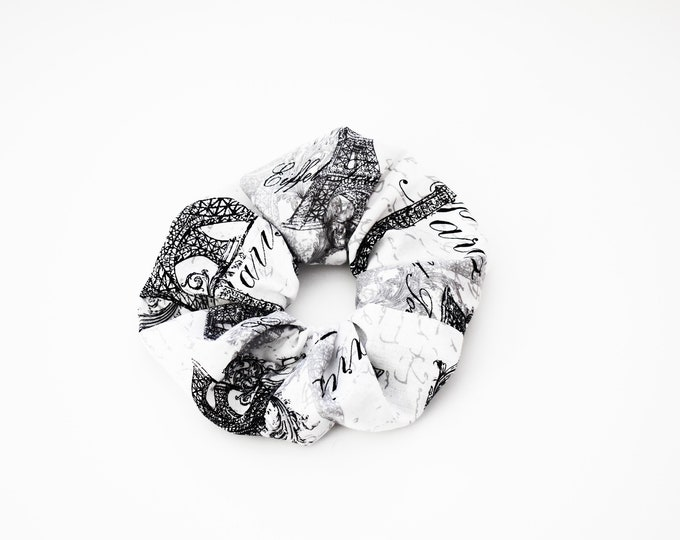Scrunchie  Designer Boutique ~ Paris Forever ~ Black and White  Scrunchie ~ Hair Cloud ~ Bun Holder