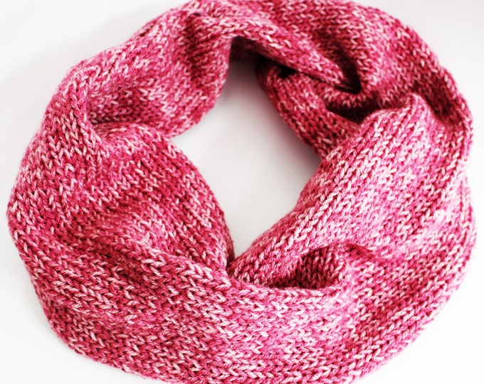 Pink Rose Knit Infinity Scarf