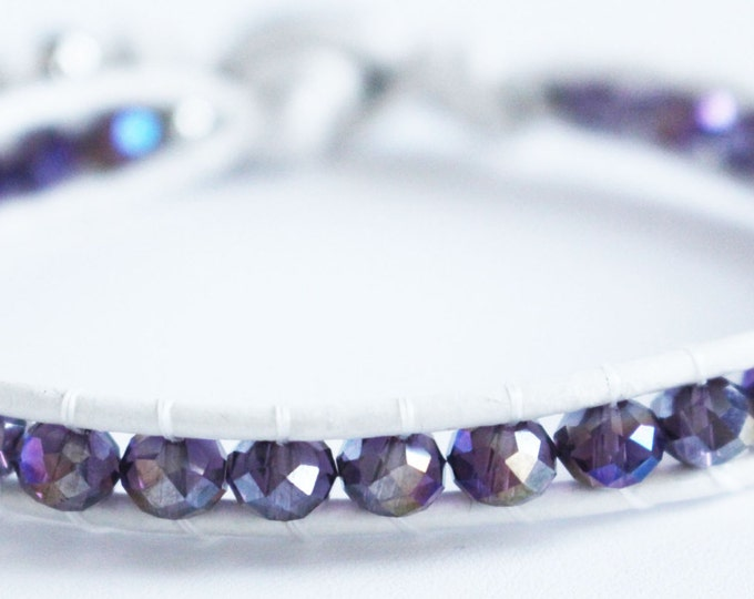Purple Faceted Sparkling Crystal *Genuine*  Leather Wrap Bracelet ~Womens~ Teens~ BOHO~ Summer Jewelry ~