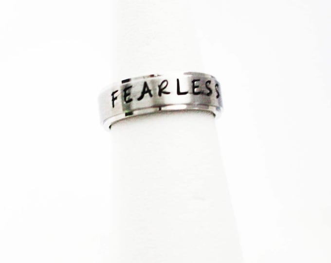 "Jewelry ~ Handstamped ""FEARLESS"" Ring ~ Unisex"