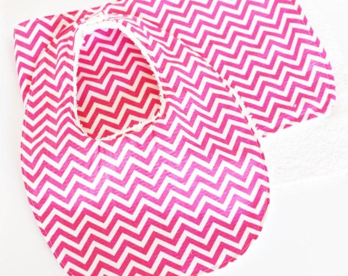 Chevron Baby Bib and Burp Cloth set ~ Baby Girl ~ Baby Shower Gift ~ New Baby Gifts