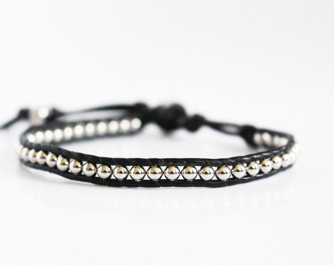 Black Genuine Leather Wrap Bracelet