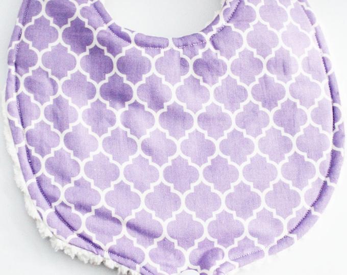 Lavender Baby Girls Binky Bib ~ Pacifier Bib ~ Boutique Bib