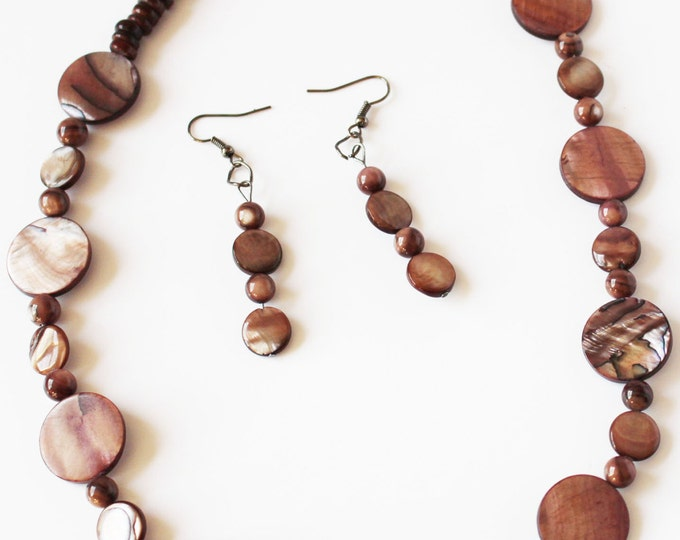 Mother of Pearl Necklace Jewelry Set  ~For Her ~ Brown Neutral- Summer Jewelry