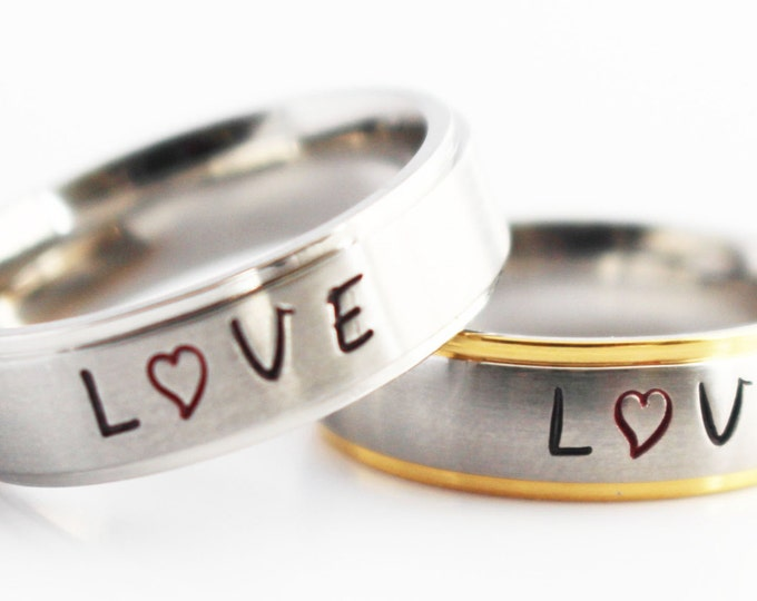 Love Initials Ring -  (CHOOSE FONT COLOR) Personalized  - Custom Options ~ Unisex Adults~ Mens Jewelry~ Womens Jewelry ~