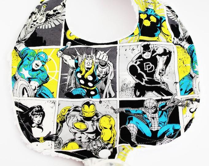 The Avengers Marvel Heros Binky Bib ~ Baby Bibs ~ Boy bibs ~ Pacifier Bibs ~ New Baby ~ Baby Shower Gifts