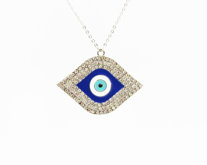 Evil Eye Crystal Pendant Necklace