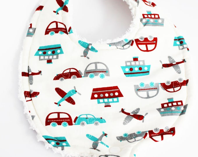 Bibs ~ Cars, Boats and Trains! Oh My! Boys Binky Bib
