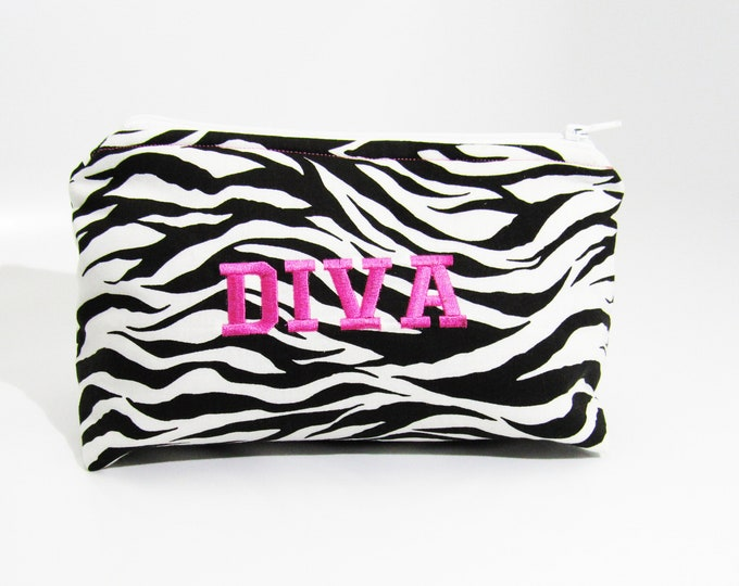 Cosmetic Bag ~ DIVA Zebra Animal Print Cosmetic Bag ~ Makeup Bag