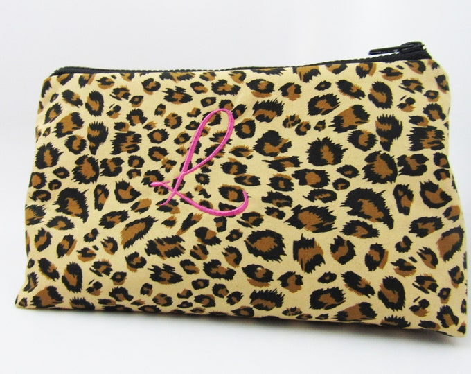 Leopard Cosmetic Pouch With Optional Initial Embroidery