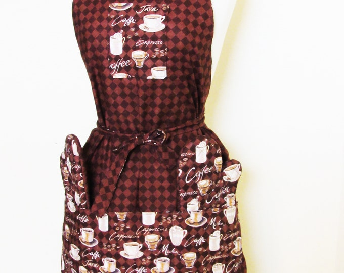 Apron Bundle ~  Reversible Apron with Matching Oven Mitts ~ Coffee Apron ~ Reversible
