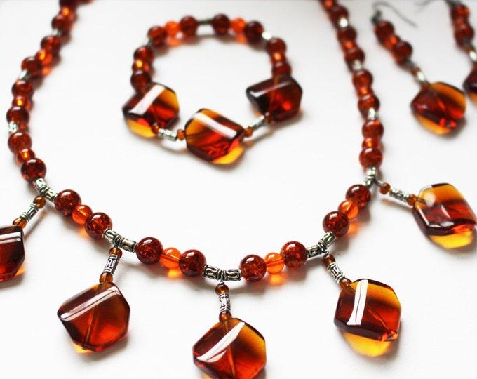 Gorgeous Jewelry Set ~ Statement Jewelry ~ Orange~ Citrine ~ Necklace~ Bracelet ~ Earrings