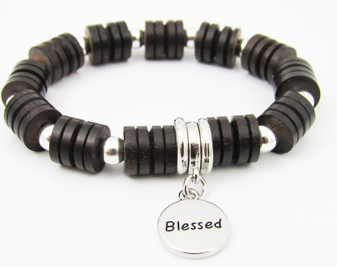 Men's Rondelle Wood Bracelet with Blessed Charm ~ Fathers Day Gift