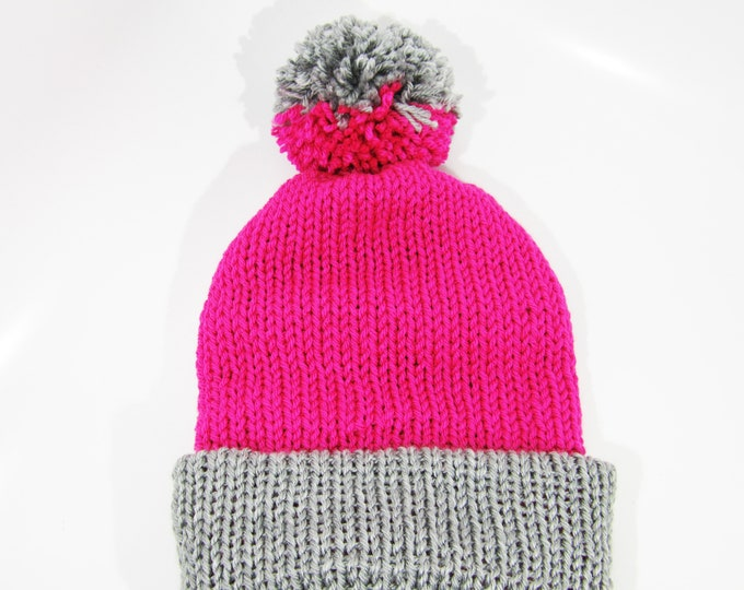 Two- Toned Hot Pink and Gray Beanie Hat With Pom