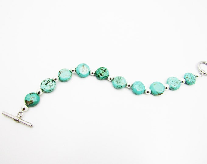 Turquoise bracelet with Silver Metal Beads