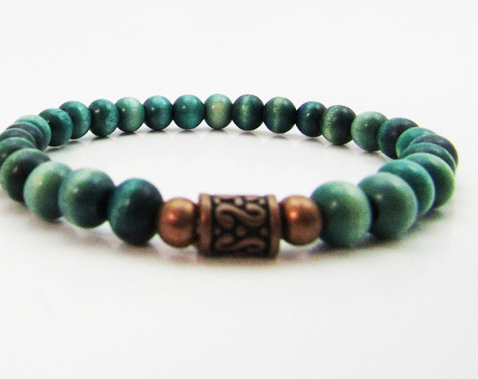Simple Teal Wood and Copper Bracelet