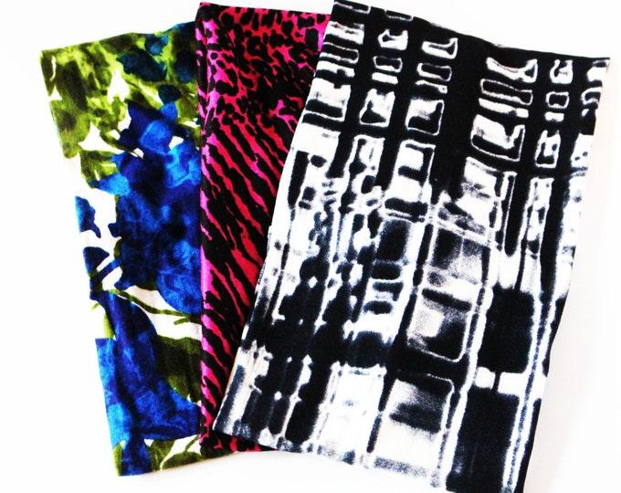 Headbands ~ Set of 3 Fitness Headband-Workout Headband- Yoga Headband- Extra Wide Headbands - Animal Print- Black - Floral