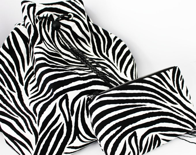 Zebra Drawstring Bag with Matching Cosmetic Bag
